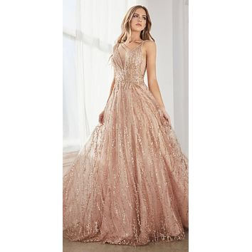 CLEARANCE - Long A-Line Ball Gown Rose Gold Layered Tulle Glitter Lace Print (Size 4)