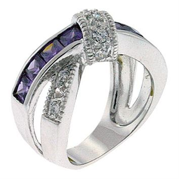 Women's Band Rings 9X036 Rhodium Brass Ring with AAA Grade CZ