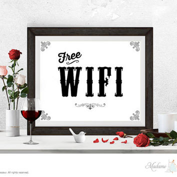 printable sign Free WIFI signs instant download signs printable signage business signs art prints DIY signs retro wall art prints printables