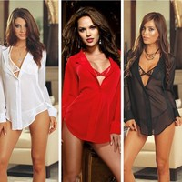 Hot Deal On Sale Cute Plus Size Chiffon Shirt Sexy Lace Set Exotic Lingerie [6595496323]