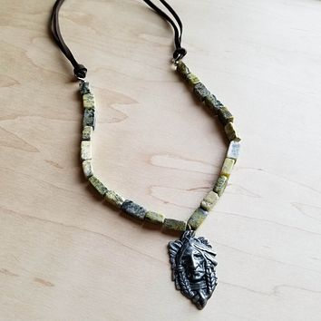 Yellow Turquoise Necklace with Antique Silver Indian Pendant