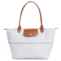 NWT LONGCHAMP Le Pliage Large Expandable Nylon Shoulder TOTE Pearl Gray