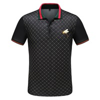 Gucci Newest Trending Men Casual Bee Embroidery Lapel Shirt Top Black