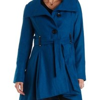 High-Low Belted Wool Coat by Charlotte Russe - Teal