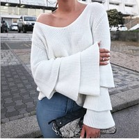 The new women's sweater collar sweater sleeve V pure female