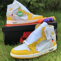 Off White X Air Jordan 1 Powder Yellow | AQ0818 149 Sneakers - Best Online Sale