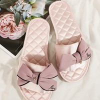 Bow Decor Quilted Detail Slippers