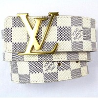 Inseva Louis Vuitton Women Men Golden LV Letter Smooth Buckle White Check Leather Belt I/A