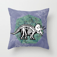 Triceratops Fossil Throw Pillow by chobopop