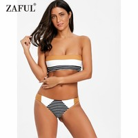 ZAFUL 2018 New Striped Bandeau Thong Bikini Set Swwimwear Women Swimsuit Sexy Low Waisted Striped Bralette Bikini Bathing Suit