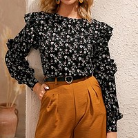 Black Ditsy Floral Ruffle Trim Blouse Women Tops Long Sleeve O-Neck Keyhole Black Casual Boho Blouses