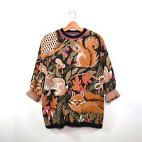 Pullover Sweater Squirrel With Nuts Sweater Fox Sweater Animal Sweater Woodland Sweater Women's Sweater Size Large