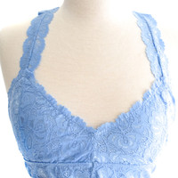 Lace Racerback Bralette Dusty Blue