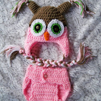 Crochet OWL Hat & Diaper Cover Set Sizes Newborn,  0-3 m Soft Photo Prop Custom Made Baby Boy Girls Gender Neutral Super Soft All Seasons