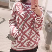 FENDI Autumn Winter Popular Women Long Sleeve Round Collar Sweater Top Sweatshirt