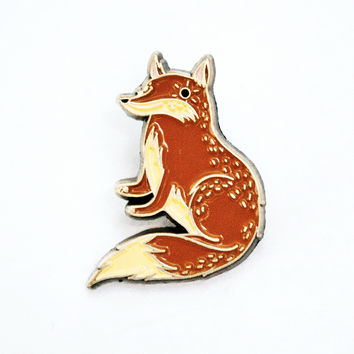 Red Fox Enamel Pin - Fox Lapel Pin by boygirlparty