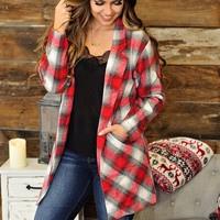 * No Better View Plaid Jacket : Red