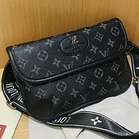 LV New fashion monogram print waist bag shoulder bag crossbody bag Black