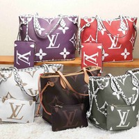 Hipgirls LV Louis vuitton casual lady printed patchwork color two-piece shoulder bag