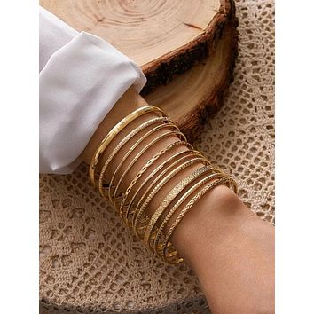 11pcs Textured Metal Bangle