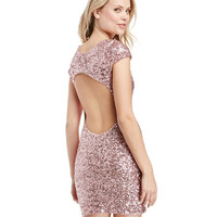Cut-out Back Sequined Bodycon Mini Dress