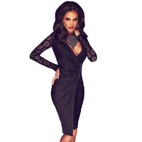 Lace Sexy Black Long Sleeve Package Hip V Neck Split Erotic One Piece Dress _ 11972