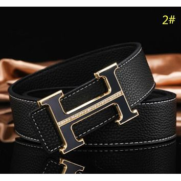 Versace & Hermes Fashion New H Human Head Leather Women Men Leisure Belt 2#