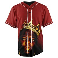 Biggie Smalls The King Red Button Up Baseball Jersey