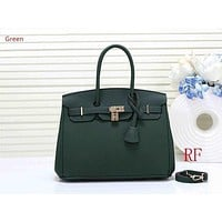 Hermes ladies fashion simple casual top layer leather lychee pattern shoulder bag Green