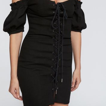 Free People Pamela Lace-Up Bodycon