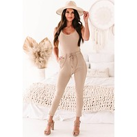 Take It To Go Ribbed Drawstring Waist Jumpsuit (Toffee)