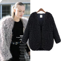 New 2016 Fashion for Winter Coat Women Hot Sale Women Coat Knitwear Long Sleeve Loose Faux Fur Cardigan Winter Coat Jacket