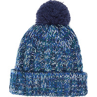 River Island MensNavy cable knit beanie hat