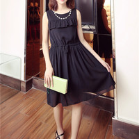 Kim lot of small fresh wood ear chiffon dress