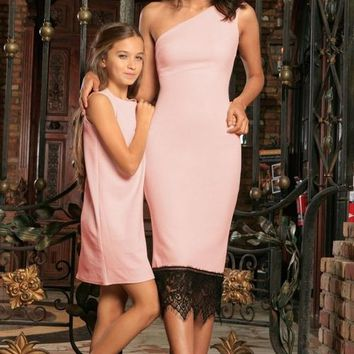 Blush Pink Stretchy Summer Party Cocktail Matching Dresses