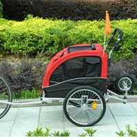 2in1 Bicycle Pet Trailer and Stroller - Red