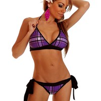 Plaid Schoolgirl Pucker Back Bikini