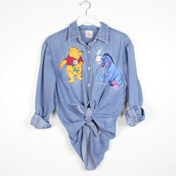 Vintage 1990s Winnie The Pooh Chambray Shirt Button Down Disney Store Embroidered Eeyore Cartoon Characters 90s Denim Shirt Top M L Large XL