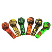 Fashion Creativity Smoking Pipe Tobacco Pipes Weed Silicone Metal Smoking Pipes Funny Skull Pattern Silicone Tobacco Pipe