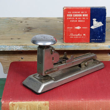 Vintage Ace Pilot Stapler Model 402 • Circa 1930s • Partial Box of Swingline No. 13 Staples • Deco Industrial Look • Ace Fastener Corp • USA