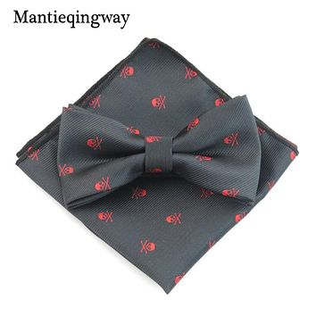Polyester Bow Tie Handkerchief Sets For Men's Skull Printed Bow Ties For Wedding Party Pocket Square Hankies Ties