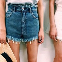 Weathered High Waist Denim Pants Shorts [6328871041]