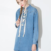 Denim Lace Up Tunic