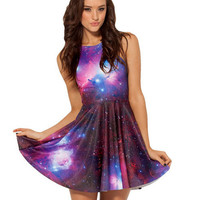 Galaxy Print A-line Tank Short Skater Dress