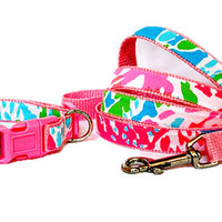 Dog Collar and Leash Set Made from Lilly Pulitzer FLUORESCENT Lets Cha Cha Fabric Size: Your Choice