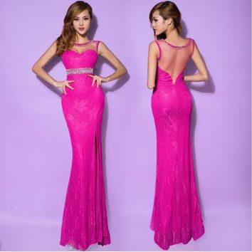 2017 Real Picture Tank lace party Homecoming Prom Gowns Ball Formal Fish tail Long Evening dresses vestidos de fiesta H0593