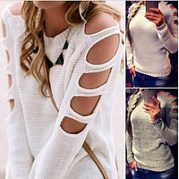 Sexy hollow sleeve round collar pullovers White sweater