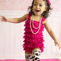 Fuchsia Petti Lace Romper, Baby Girls 1st Birthday Outfit, Pink Petti Romper