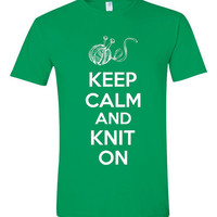 Funny Knitting T Shirt Keep calm And Knit on Ladies Knitting T Shirt