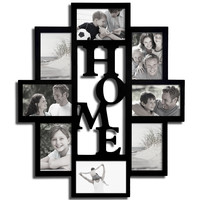 "Decorative Black Wood ""Home"" Wall Hanging Picture Photo Frame Collage"